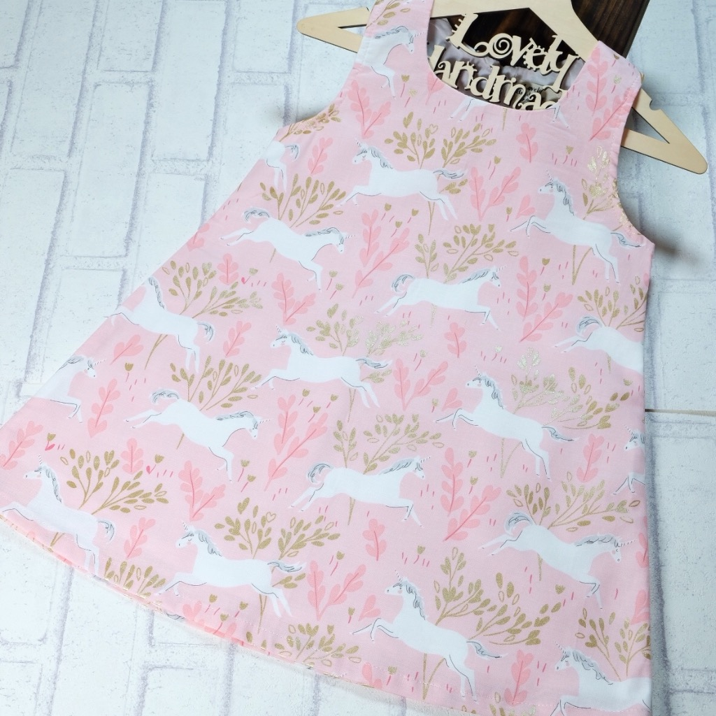 Unicorn Forest with Metallic Gold Handmade Sleeveless Dress (Size140)