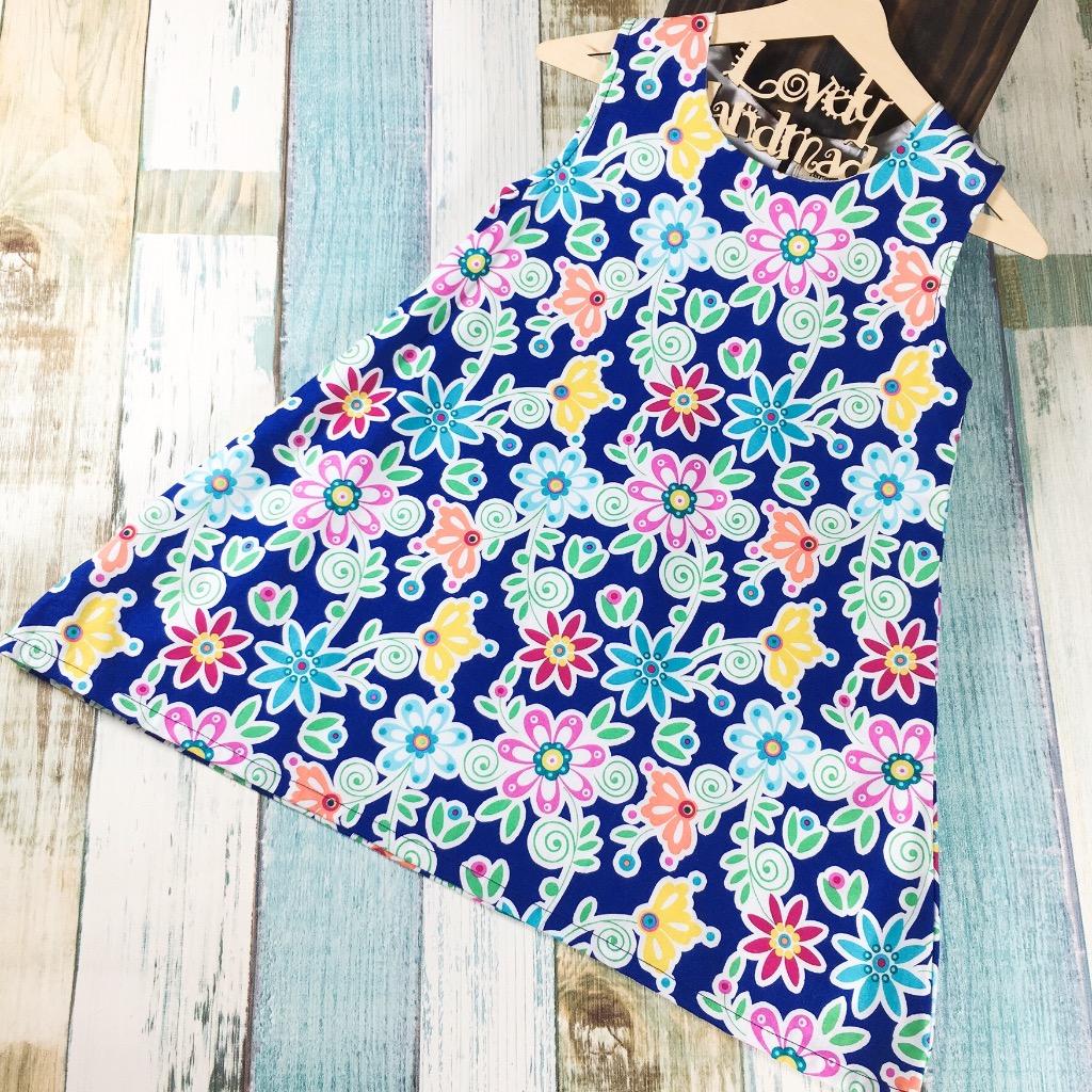 Navy Bloom Handmade Sleeveless Dress (Size140)