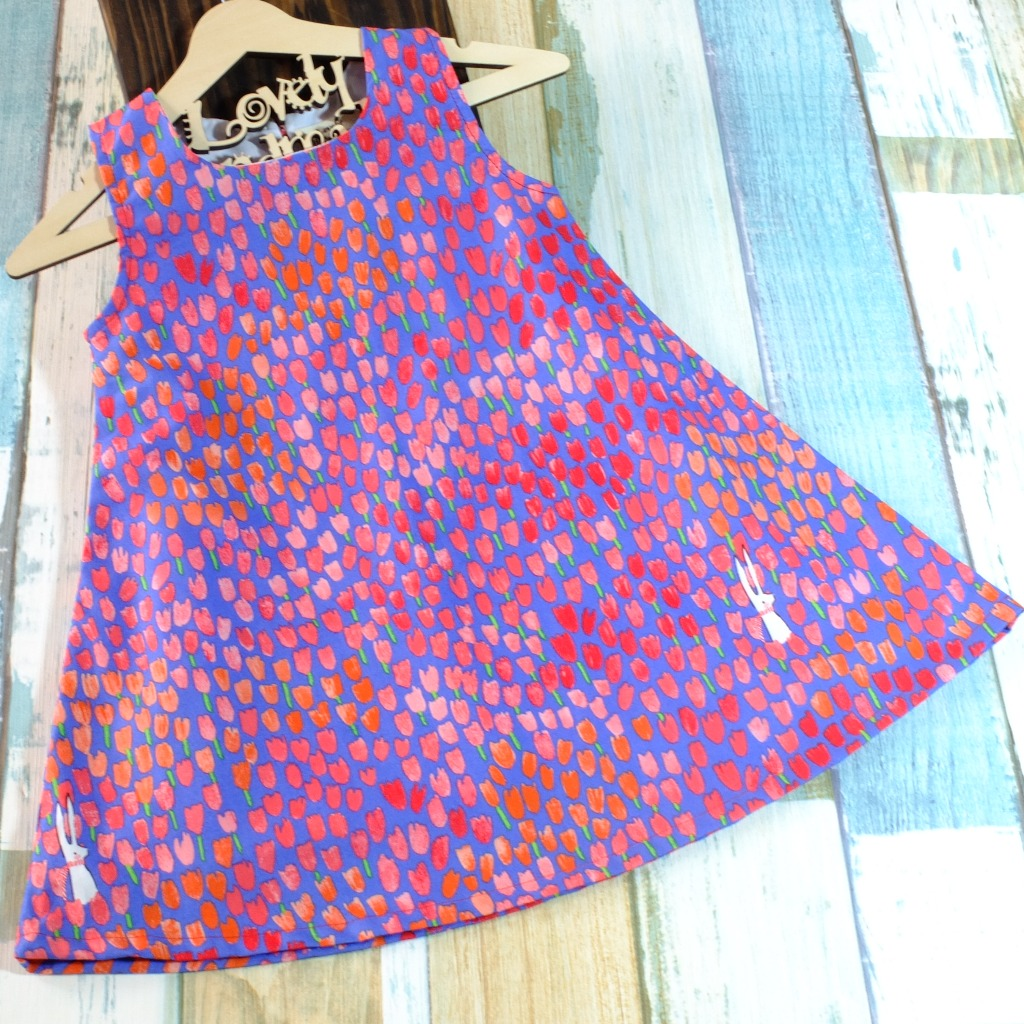 Tulip and Bunny Blueberry Handmade Sleeveless Dress (Size140)