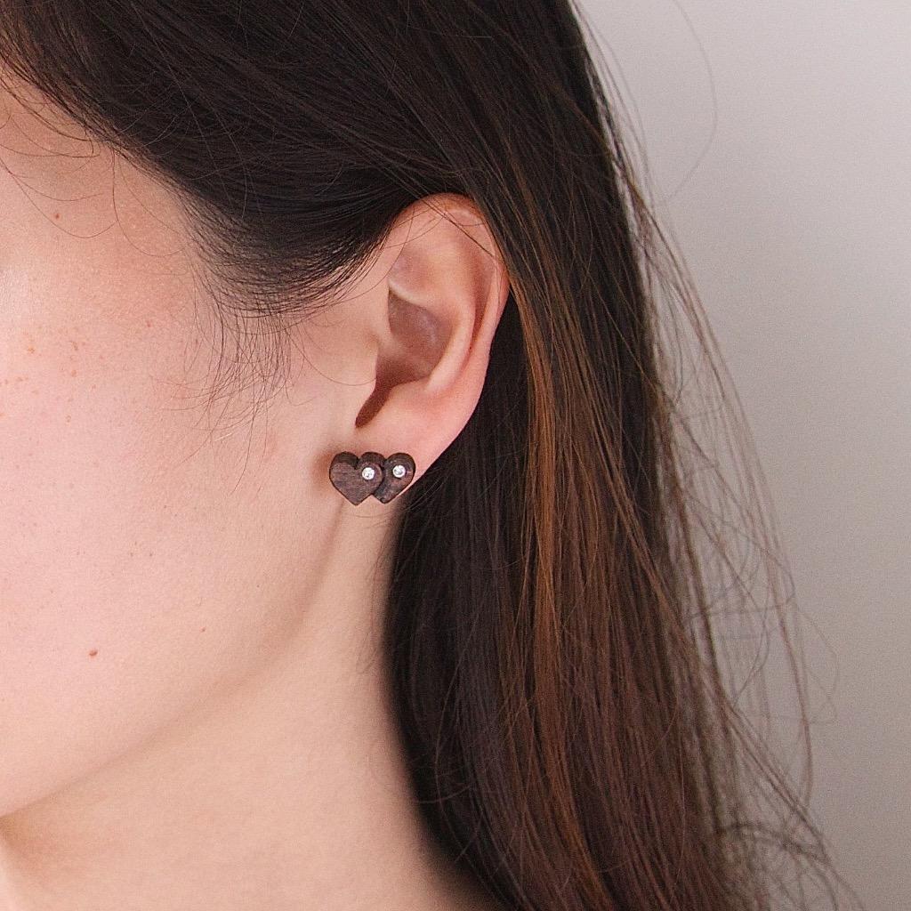 兩顆心 原木手工耳環 純銀耳針 單隻 禮物訂製