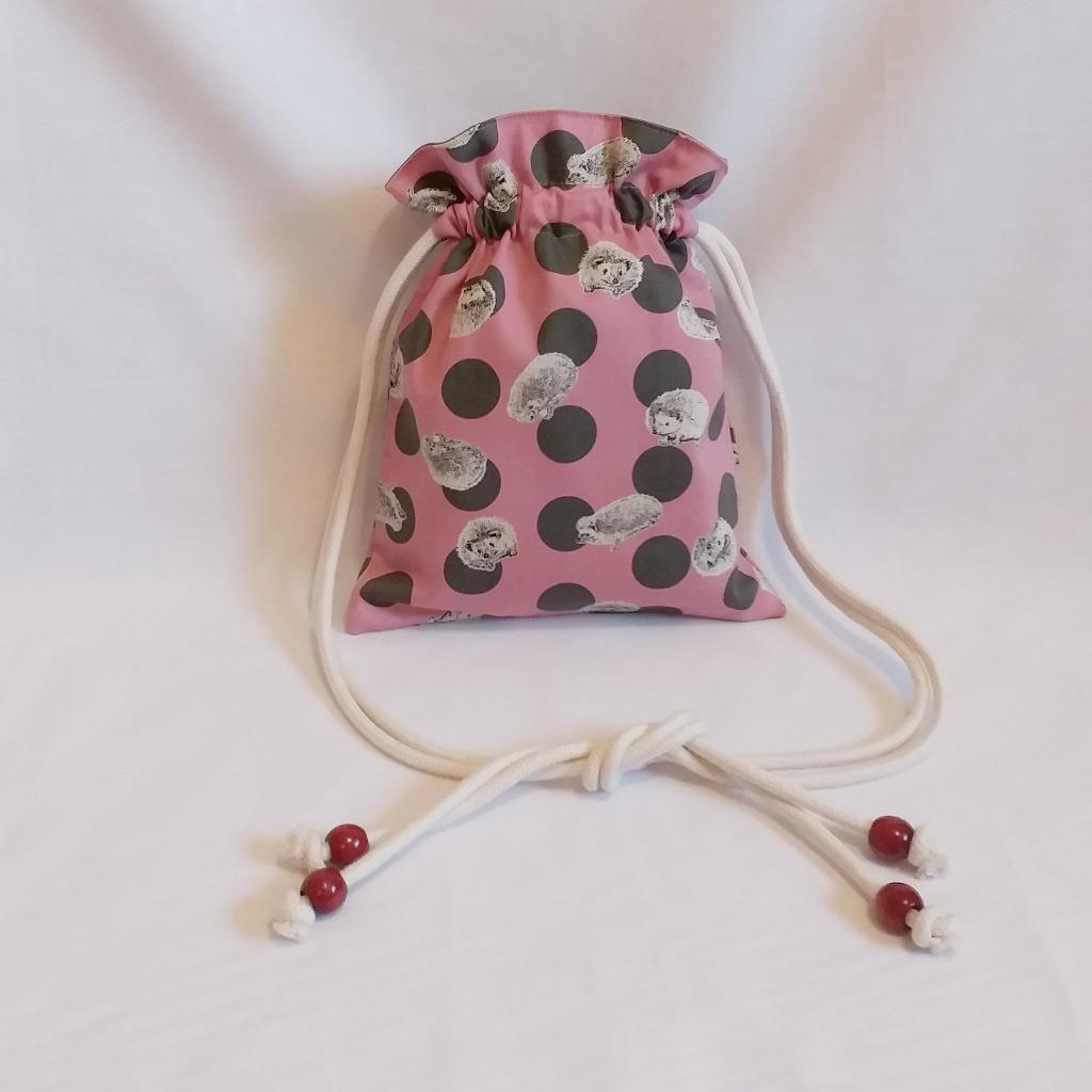波點刺蝟索繩袋 (粉紅) Polka dot Hedgehog drawstring bag (pink)