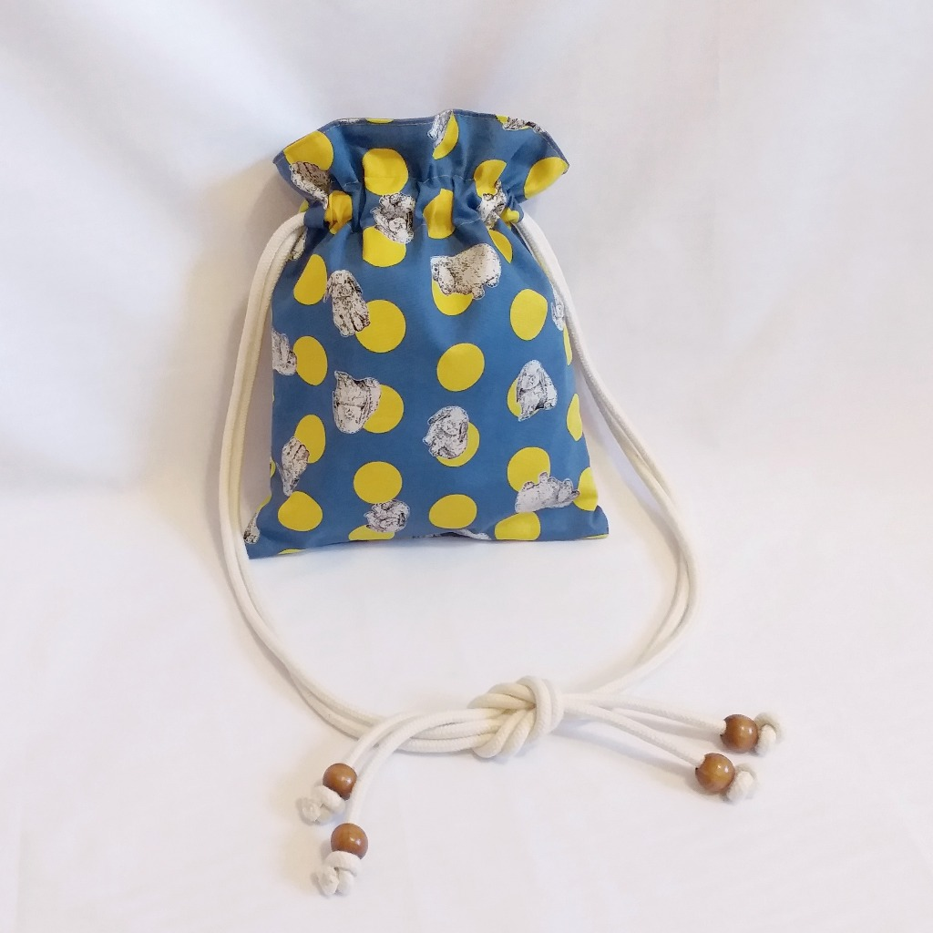 波點兔子索繩袋(深藍) Polka dot rabbit drawstring bag (Deep Blue)