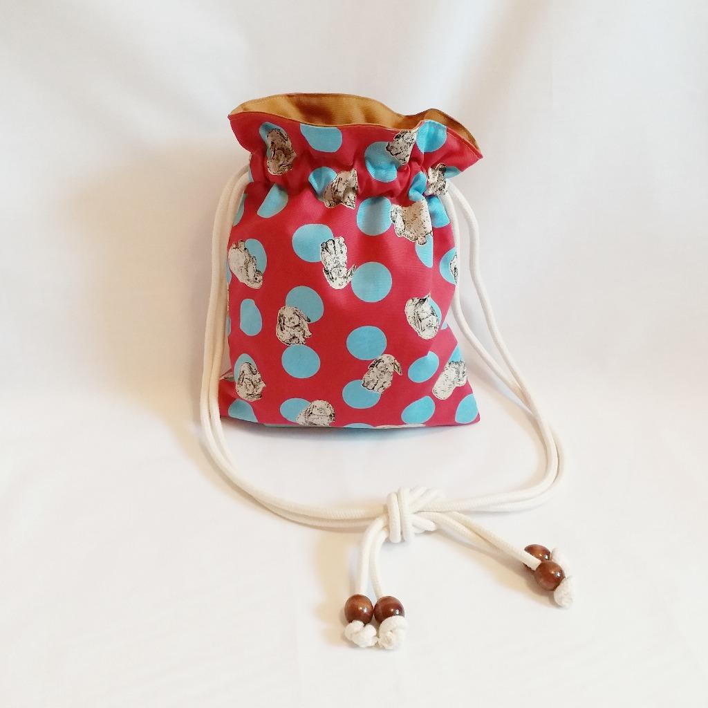 波點兔子索繩袋 (桃紅) Polka Dot Rabbit Drawstring Bag (Pink)