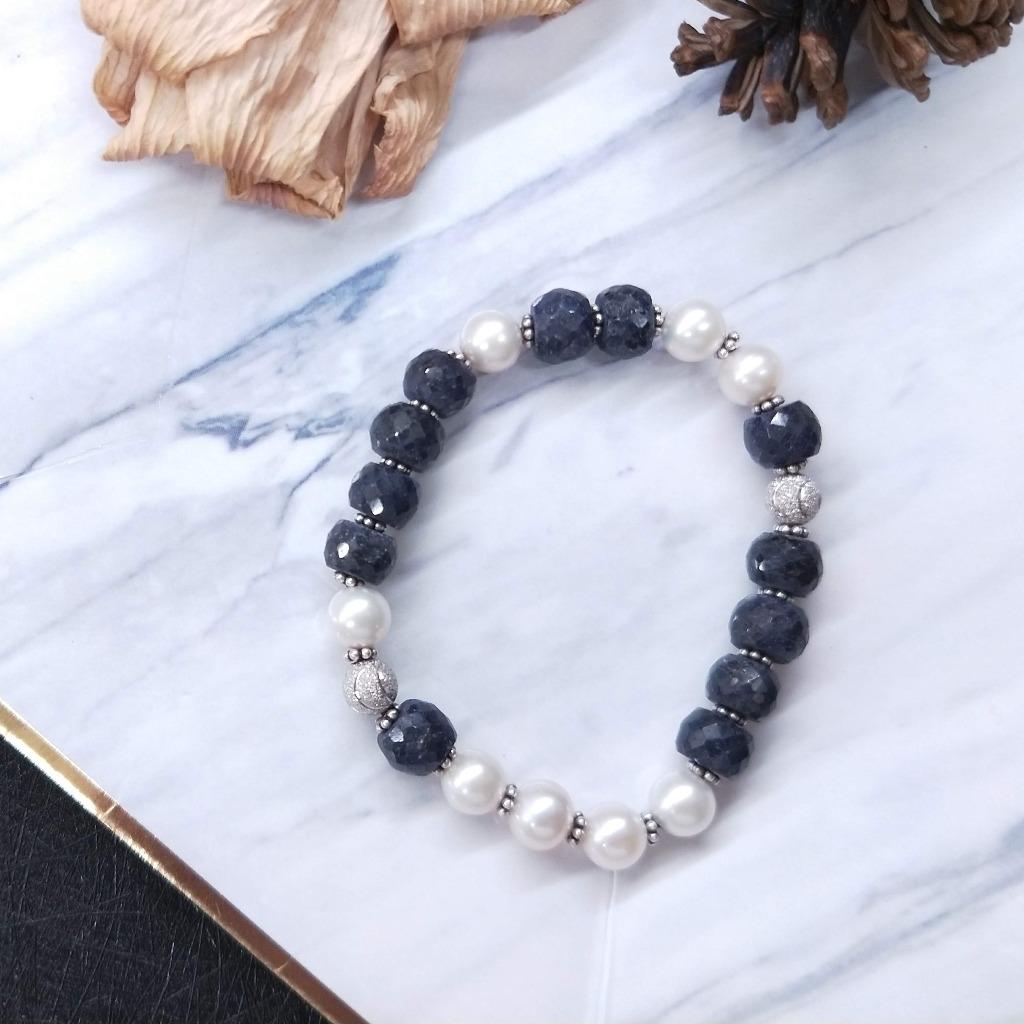 【獨一商品】藍寶石原礦*珍珠*純銀珠手串
