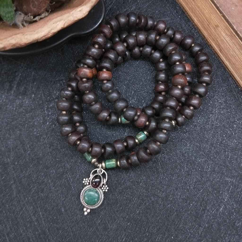 【108顆念珠。獨一商品】小葉紫檀*綠松石*紅石榴石念珠多圈手串