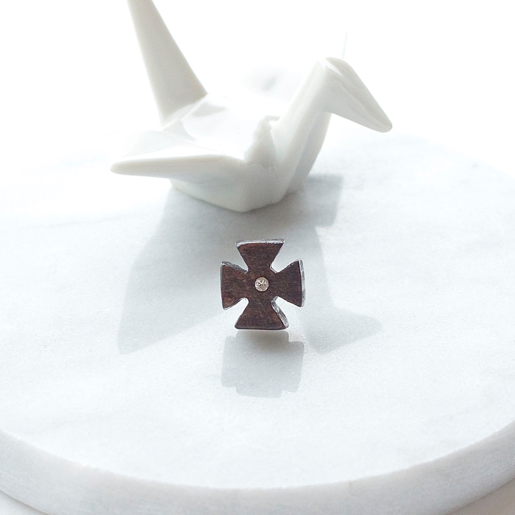 方形十字 原木手工耳環 純銀耳針 單隻 禮物訂製