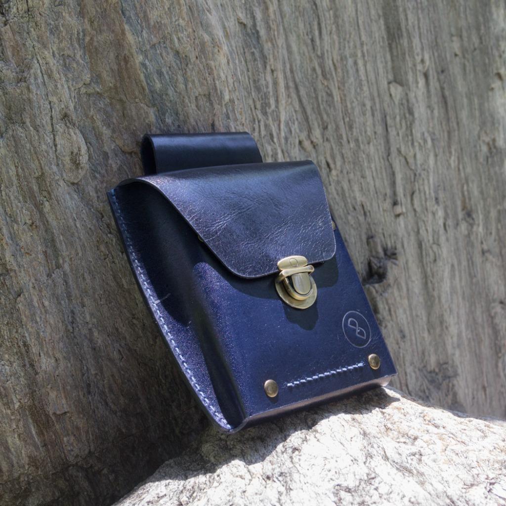 DUAL - 牛皮手縫腰包/臀包-深藍(重機)