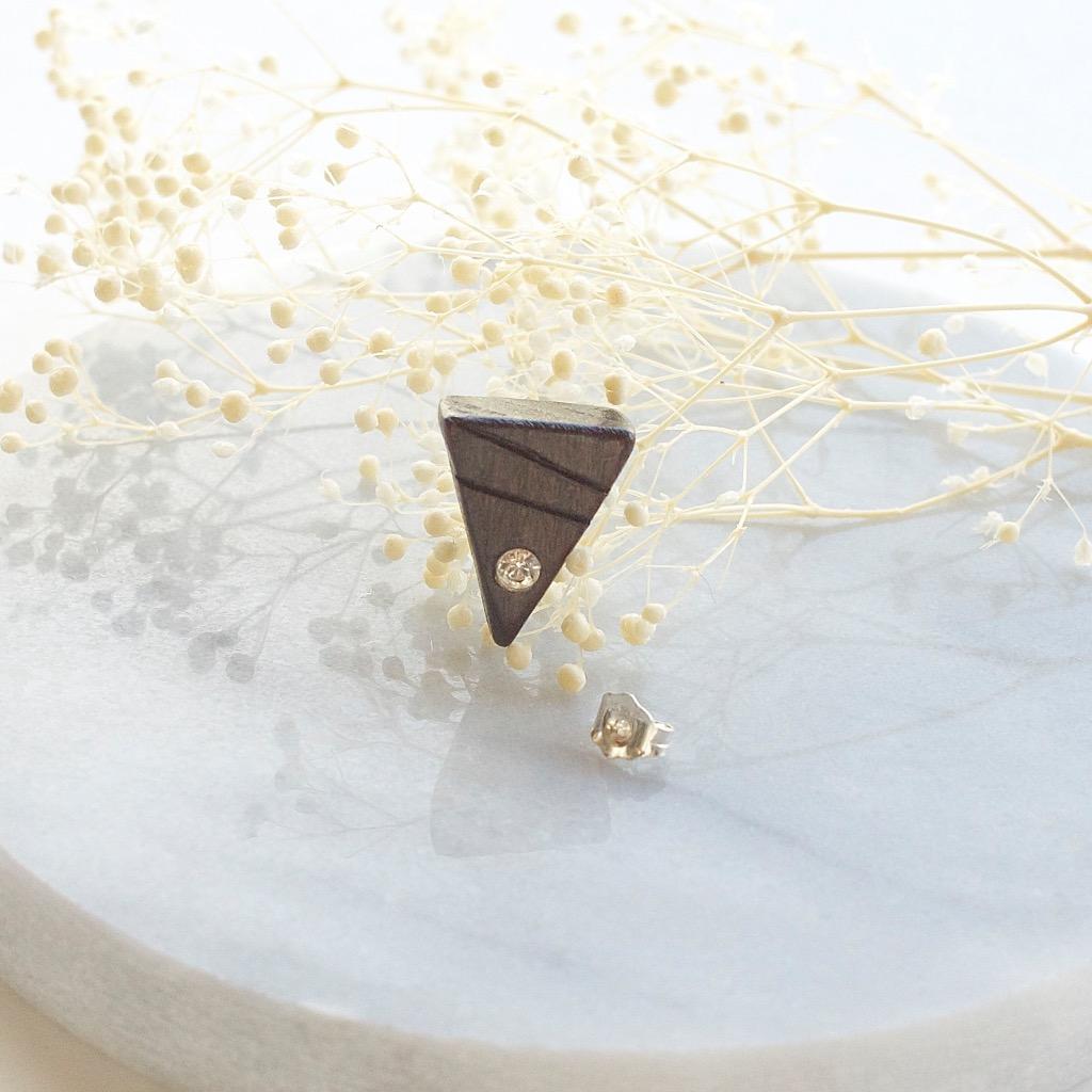 三角形 原木手工耳環 純銀耳針 單隻 禮物訂製