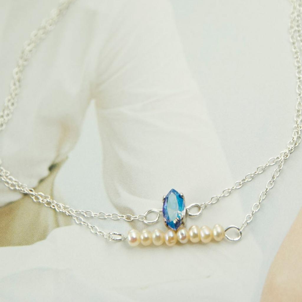 深藍水晶 淡水珍珠925純銀文創手作手鍊 AG FASHION