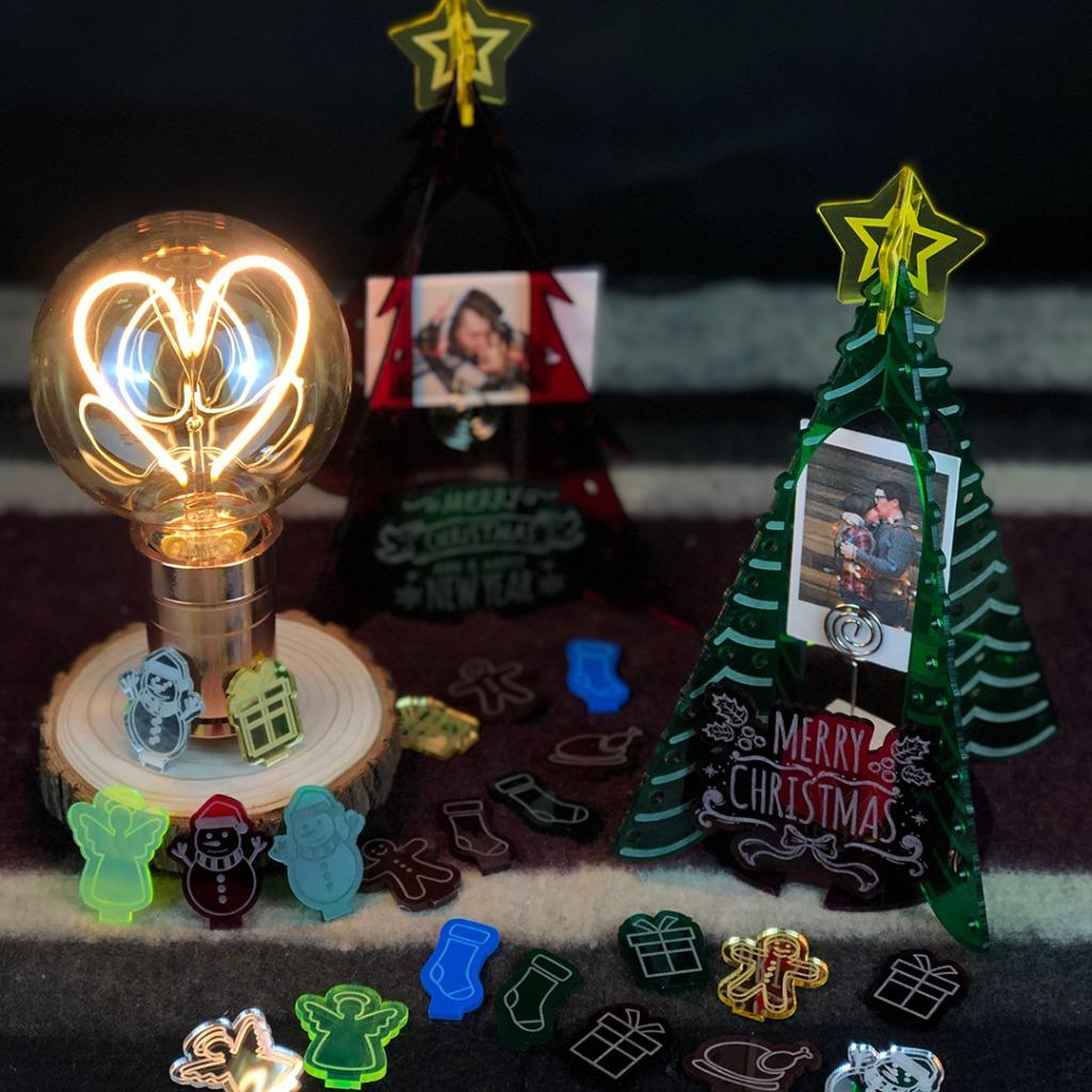 聖誕樹LED燈泡木枱燈DIY 套裝