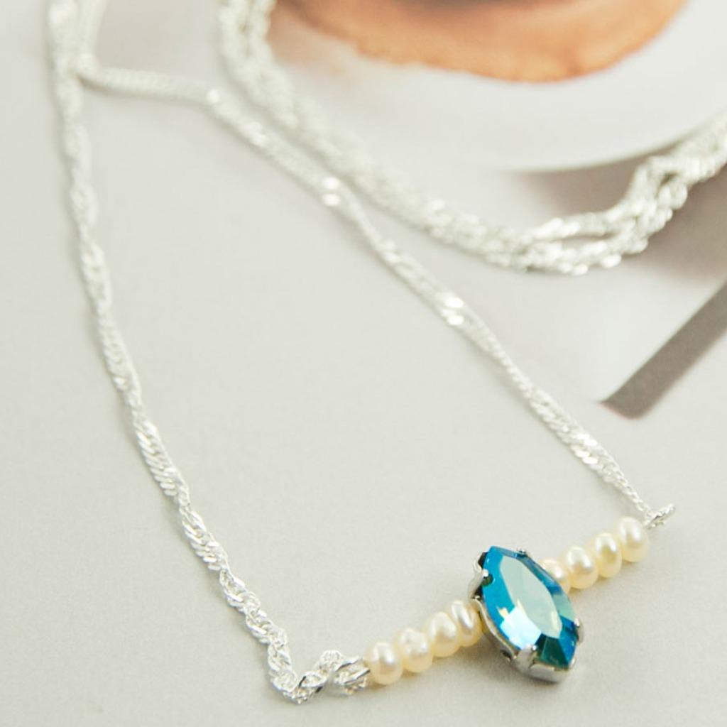 深藍水晶 淡水珍珠925純銀文創手作項鍊 AG FASHION