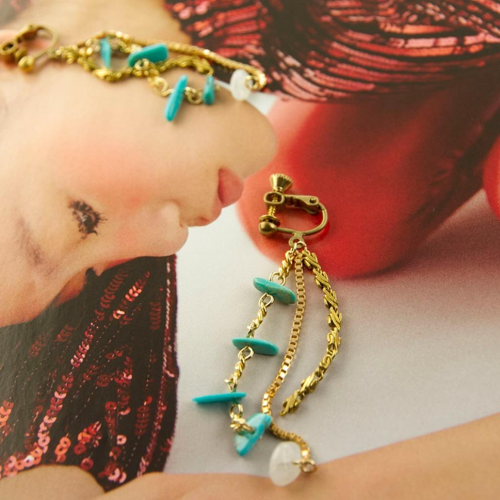 絕色系列-青松石與月光石原石 黃銅工藝耳夾