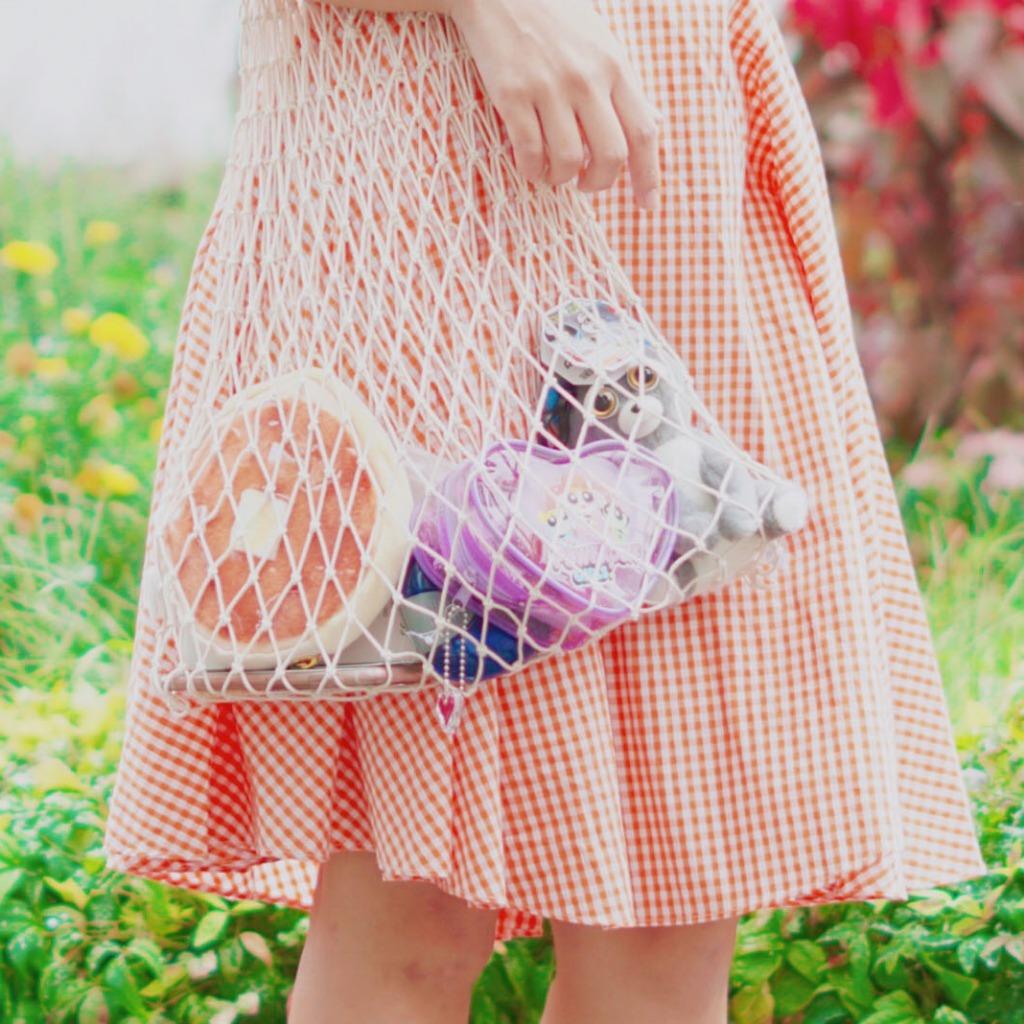 手織魚網袋 (米色)