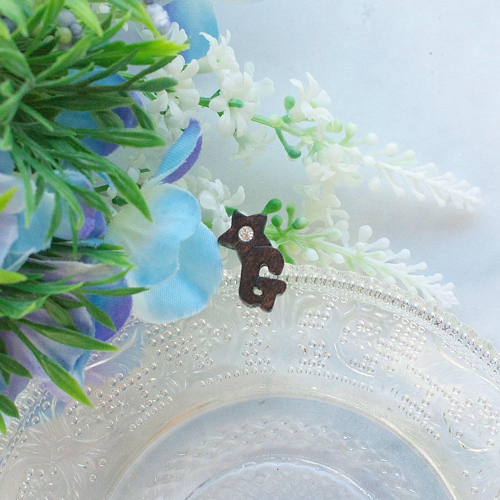 字母 G  原木手工耳環 純銀耳針 單隻 禮物訂製
