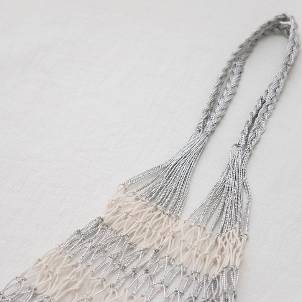 手織漁網袋 (銀白色)