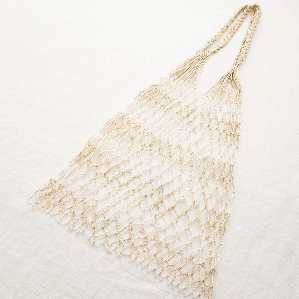 手織漁網袋 (金白色)