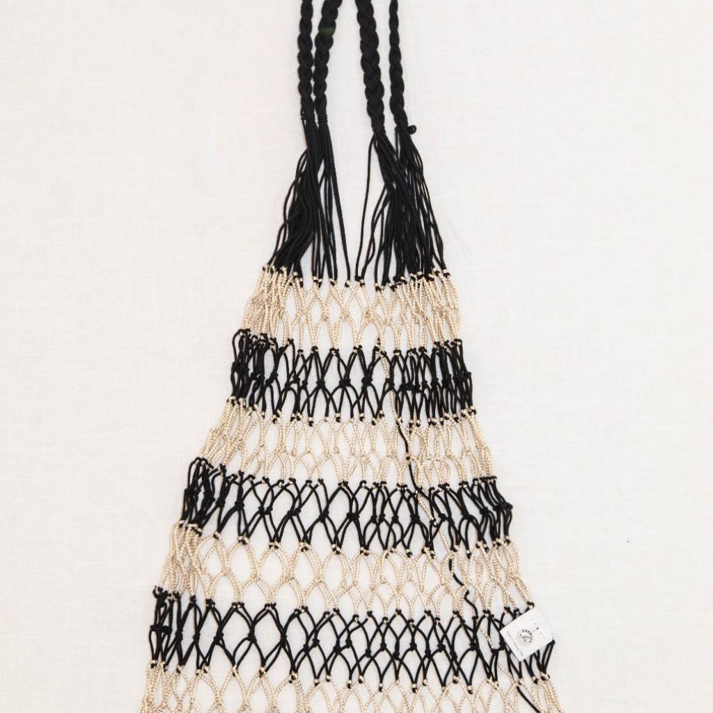 手織漁網袋 (黑金色)