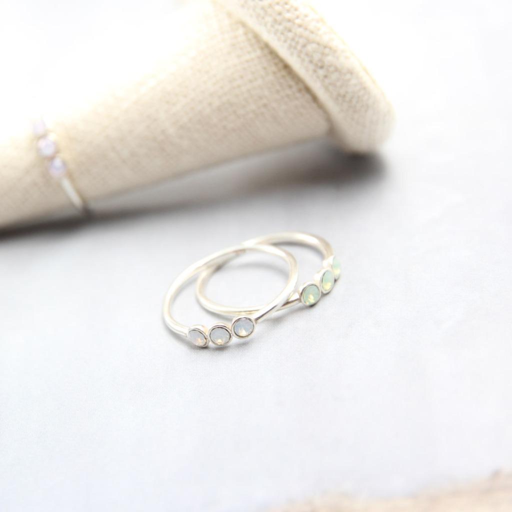 輕奢全純銀飾系列 海藍寶石.施華洛世奇.閃雲石戒指