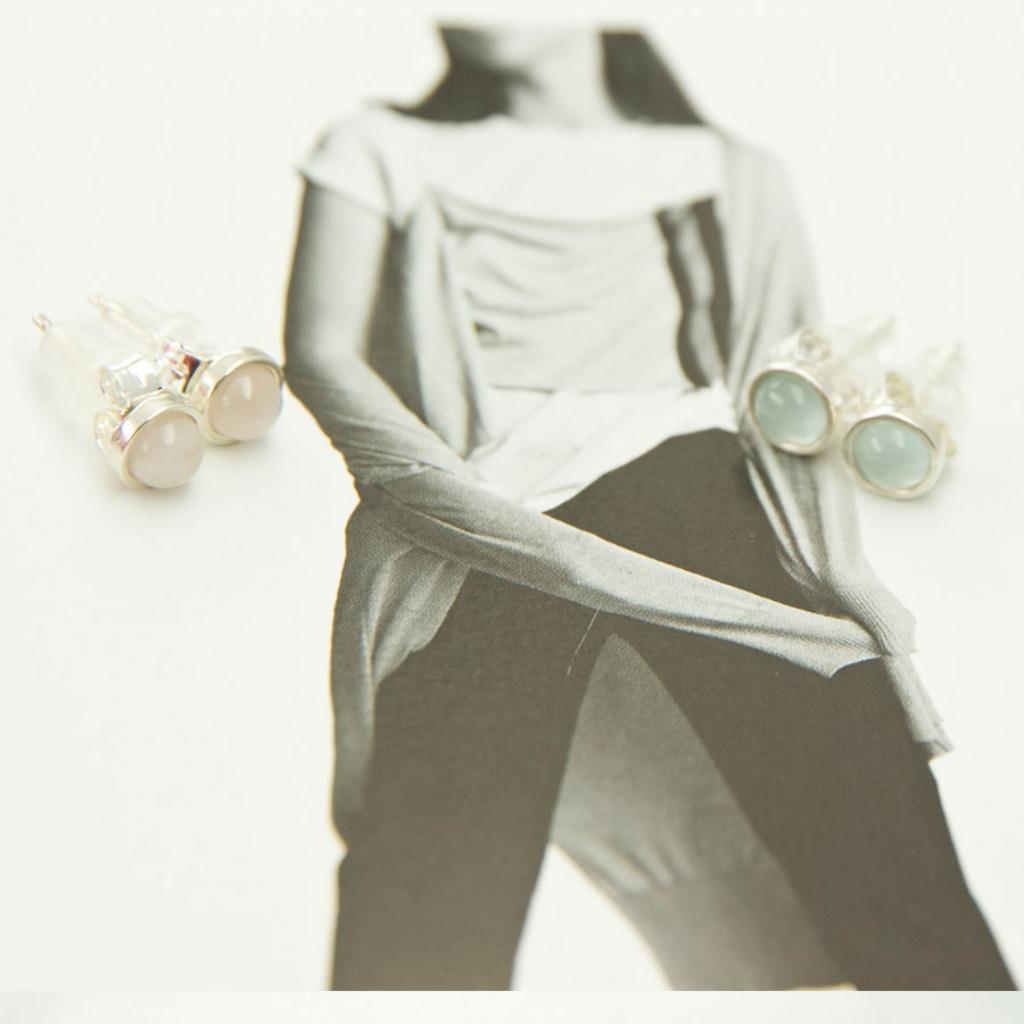 輕奢全純銀飾系列 -施華洛世奇水晶與海藍寶石耳飾