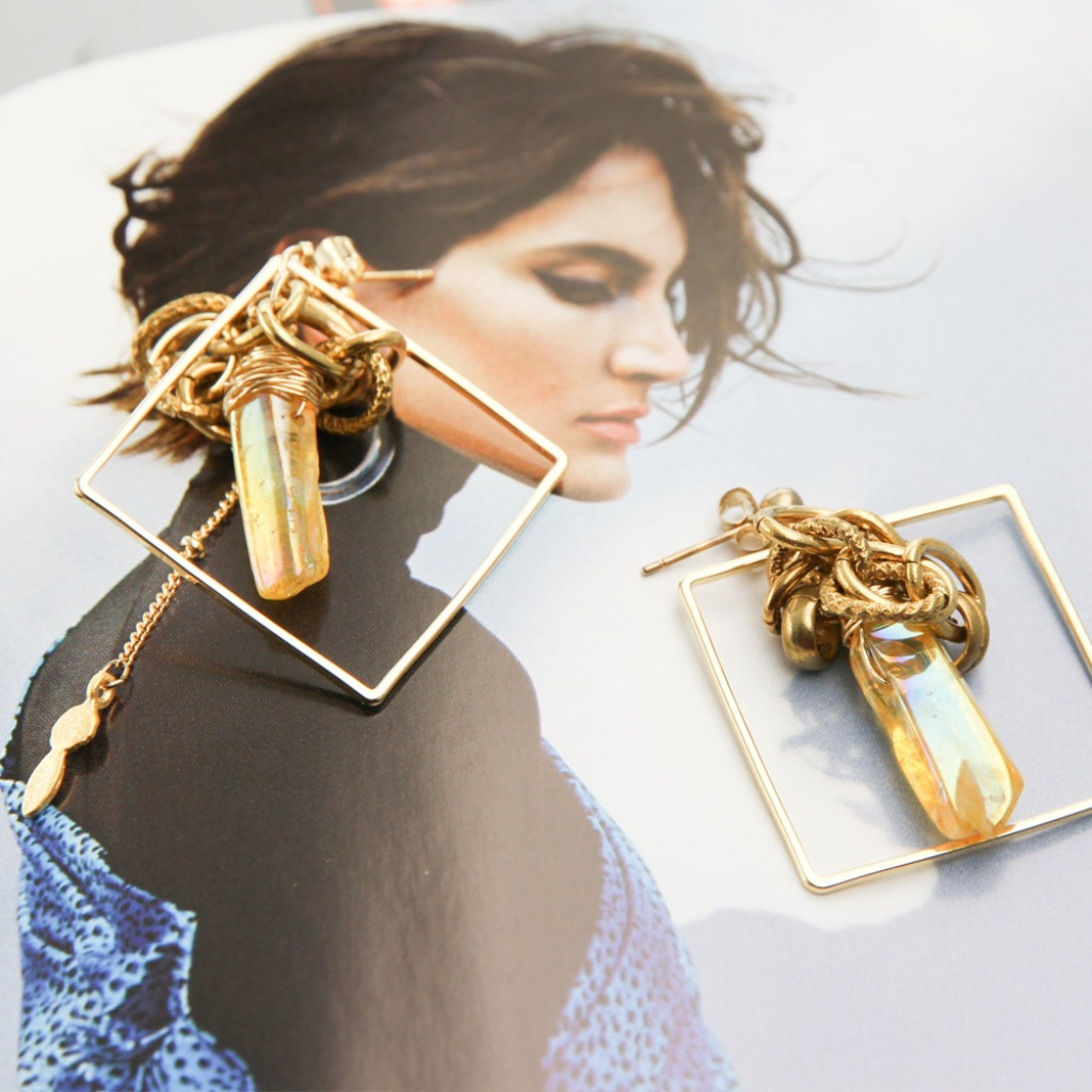 絕色黃銅系列-  黃銅與染色水晶原石 風尚