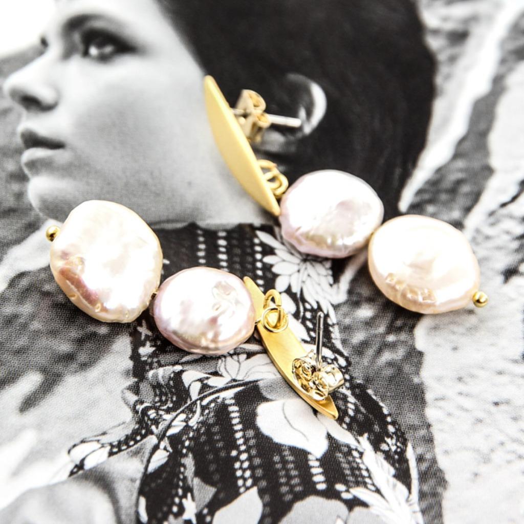 絕色黃銅系列- 淡水珍珠與黃銅 原色耳飾AG FASHION