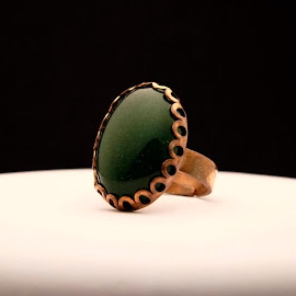 [W Bracciale] 天然石指環:橢圓形 深綠