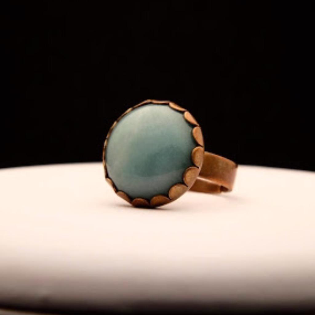[W Bracciale] 天然石指環:圓形 淡綠