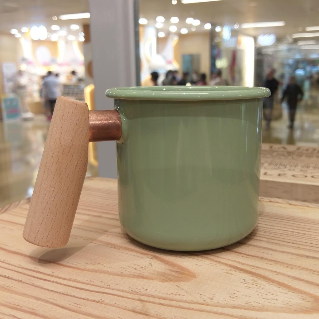 Truvii 手工木柄琺瑯杯 (草本綠 - 400ml)
