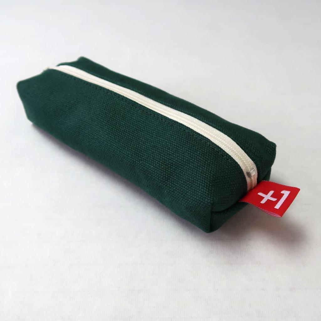 Plus 1 松綠色帆布四方筆袋 Pine Green Canvas Square Pencil Case