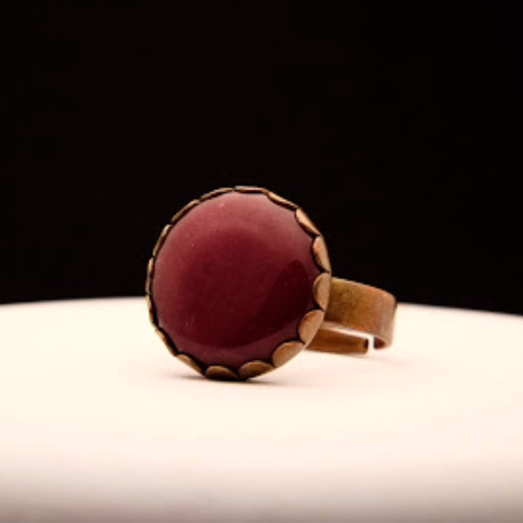 [W Bracciale] 天然石指環:圓形 紅