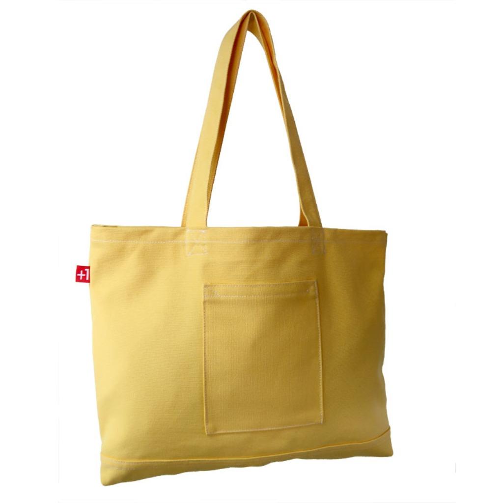 Plus 1 奶黃色帆布四袋手提袋 Pale Yellow Canvas 4-Pocket Totebag