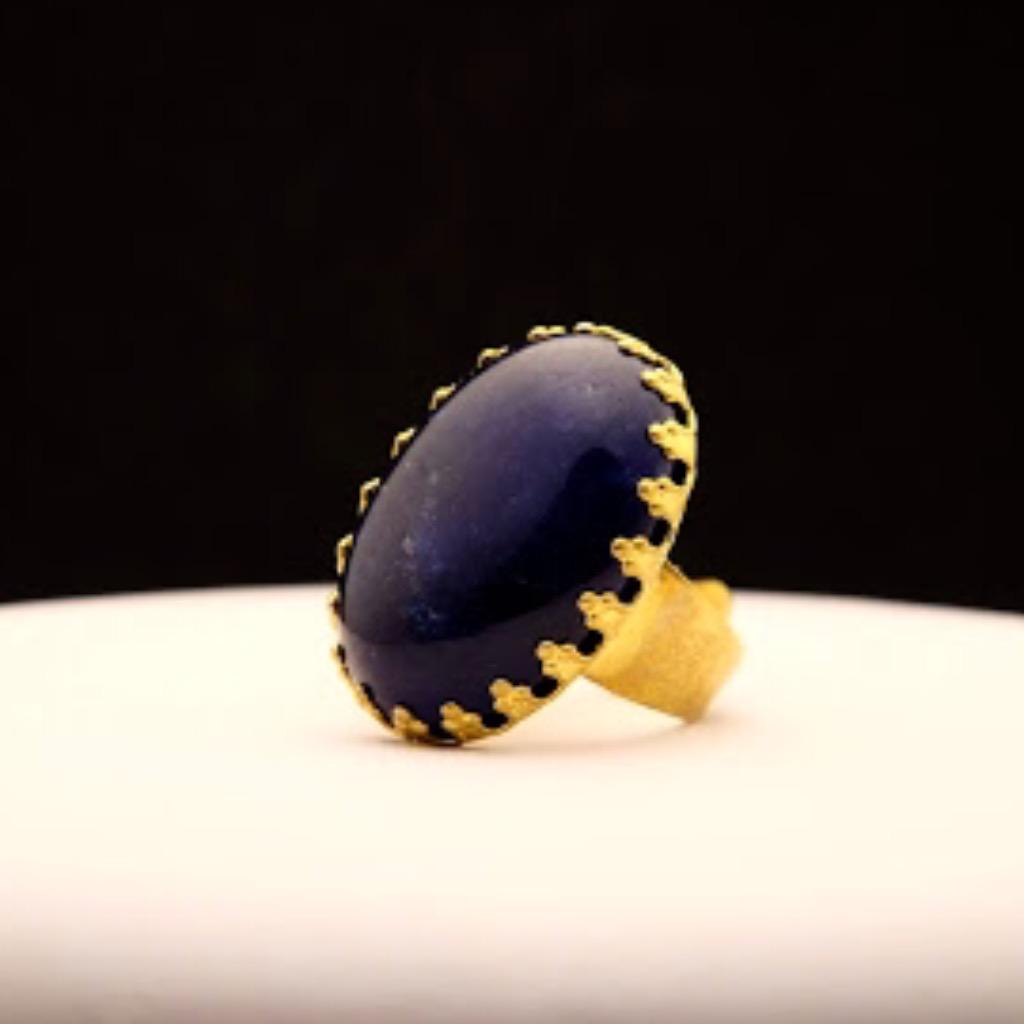[W Bracciale] 天然石指環:橢圓形 深藍