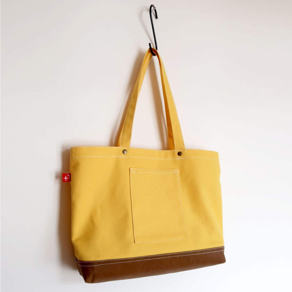 Plus 1 奶黃色帆布四袋手提袋 Pale Yellow Canvas 4-Pocket Totebag
