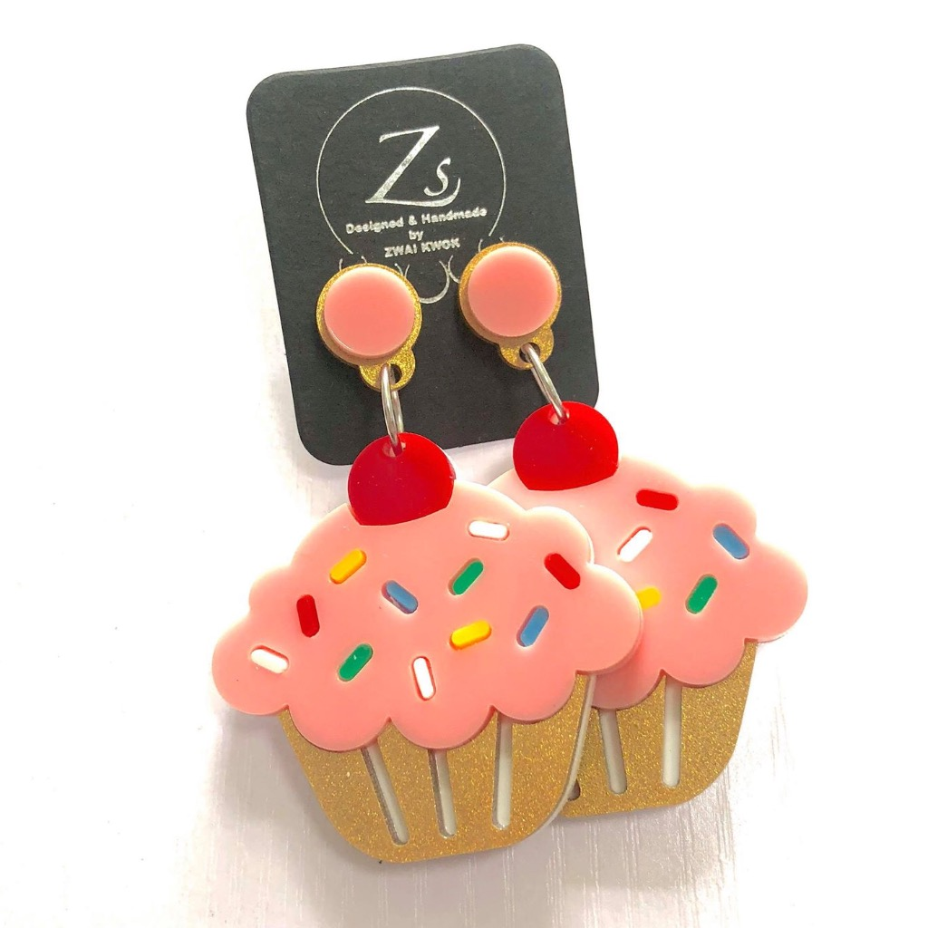 自創 品牌 杯子蛋糕耳環