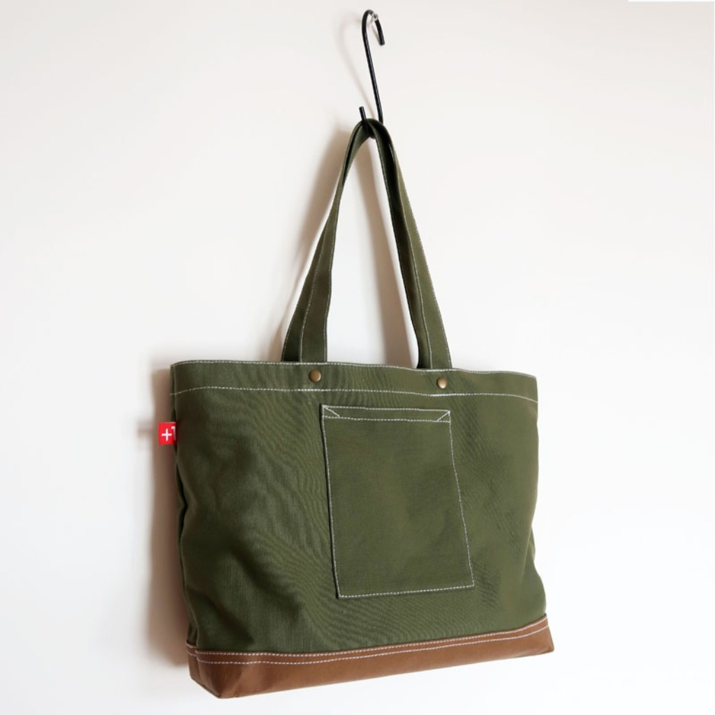Plus 1 軍綠色帆布四袋手提袋 Army Green Canvas 4-Pocket Totebag