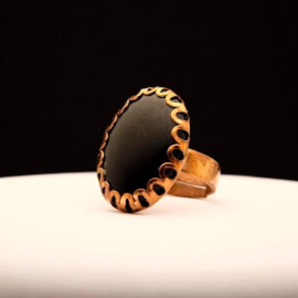 [W Bracciale] 天然石指環:橢圓形 黑