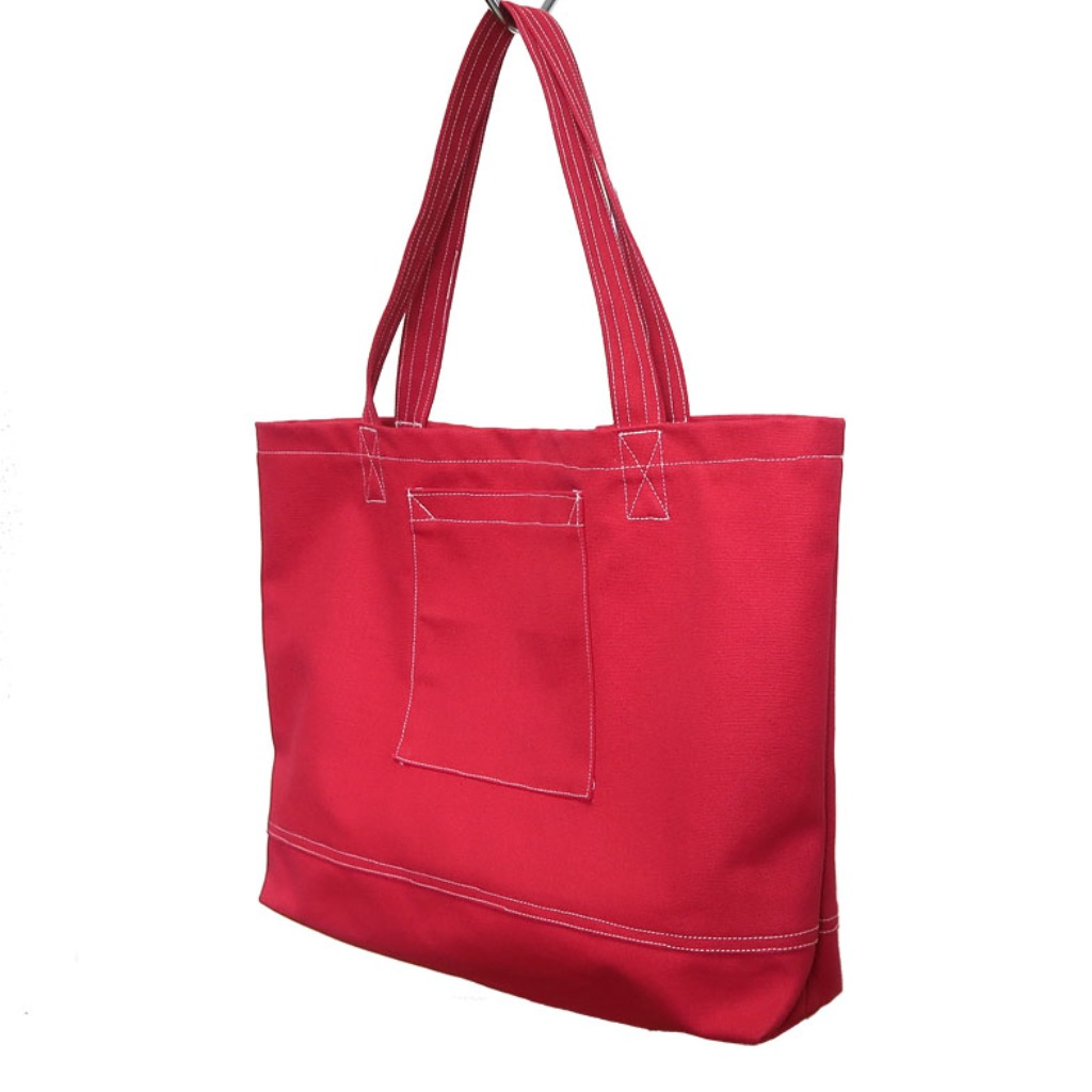 Plus 1 紅色帆布四袋手提袋 Red Canvas 4-Pocket Totebag