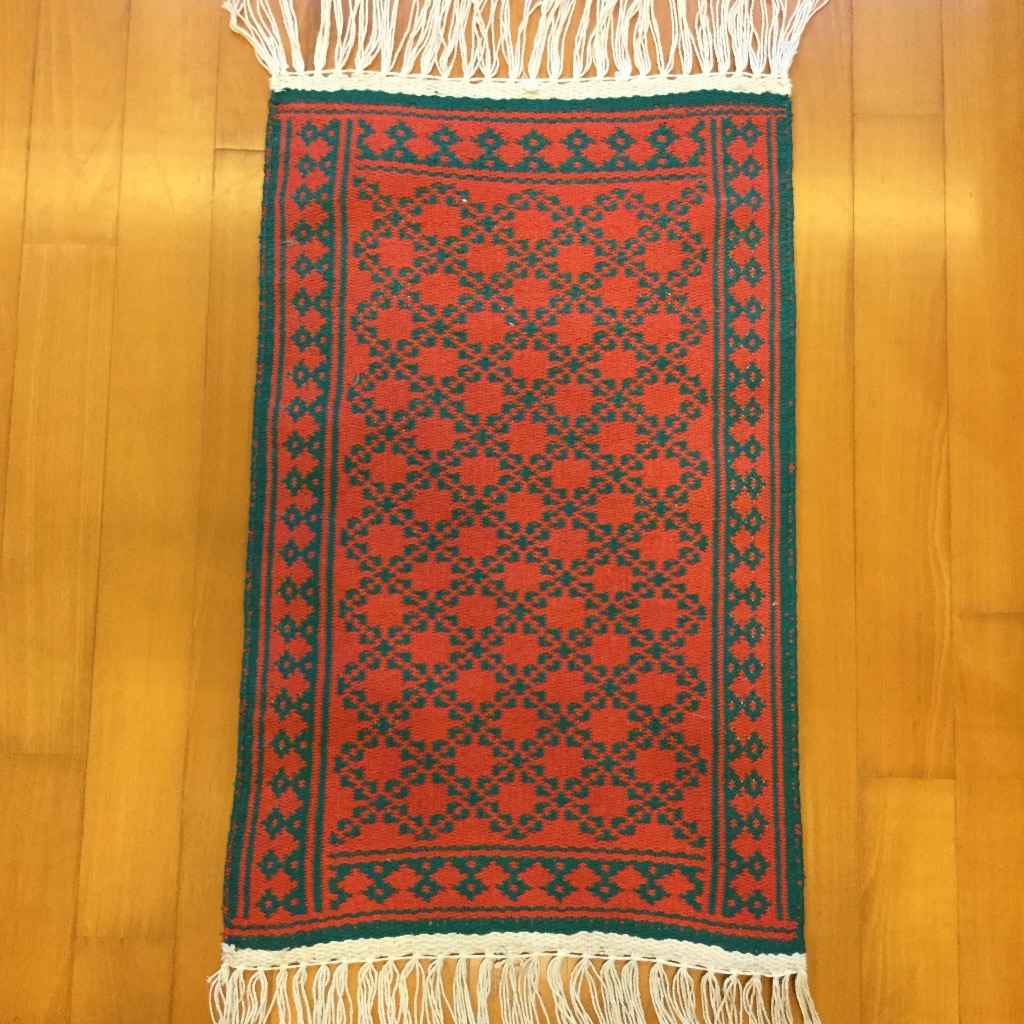 [W Home] 手織地毯 紅綠色