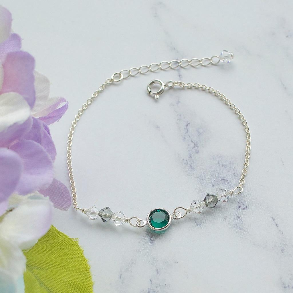施華洛世奇綠水晶環手鍊 手工純銀手鍊 禮物訂製