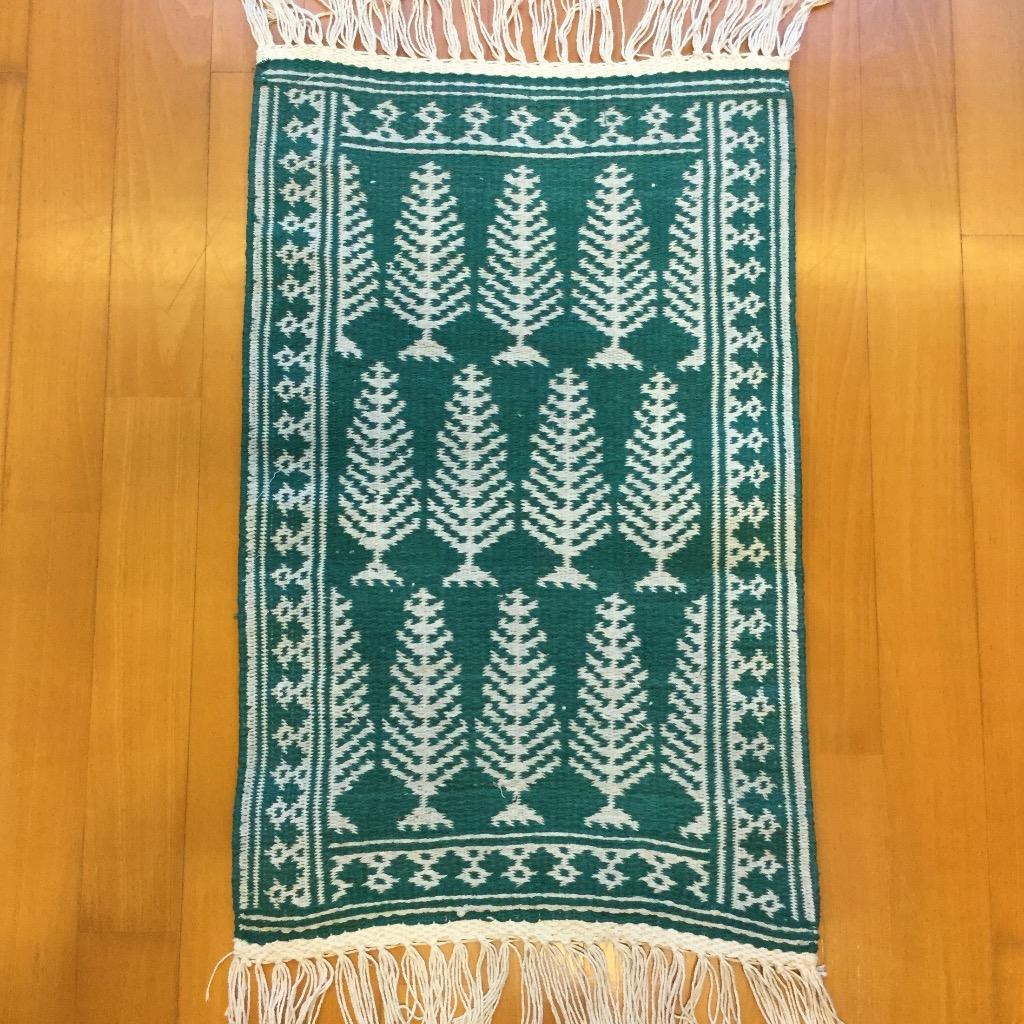 [W Home] 手織地毯 綠白色
