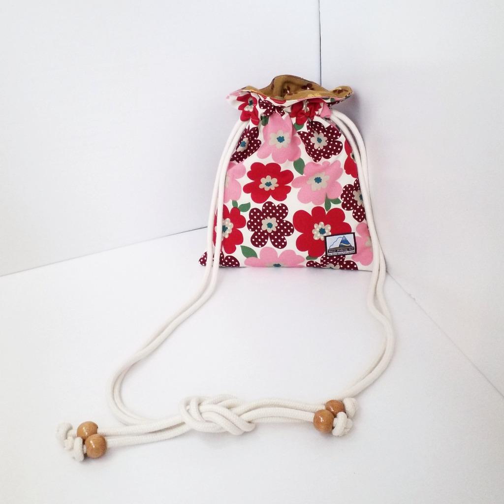 紅色色調花花圖案索繩袋 Red Tone Colour Flower Drawstring Bag