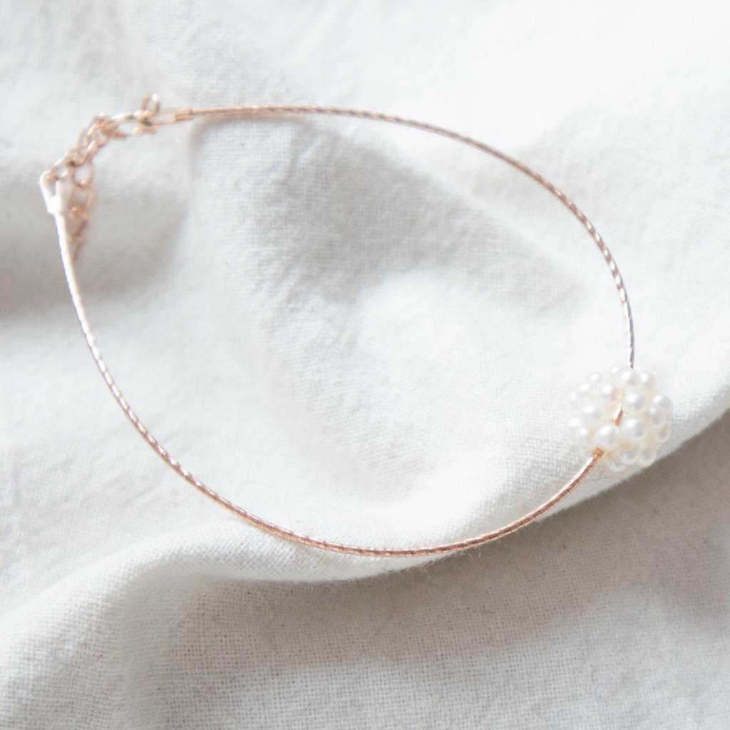 [433 Studio] 小珍珠立體波波線圈手鏈 - 玫瑰金
