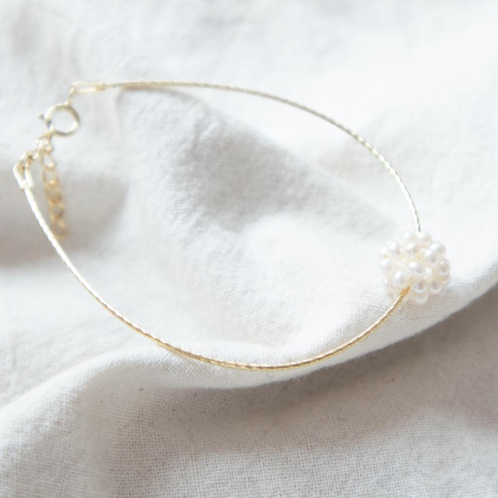 [433 Studio] 小珍珠立體波波線圈手鏈 - 金