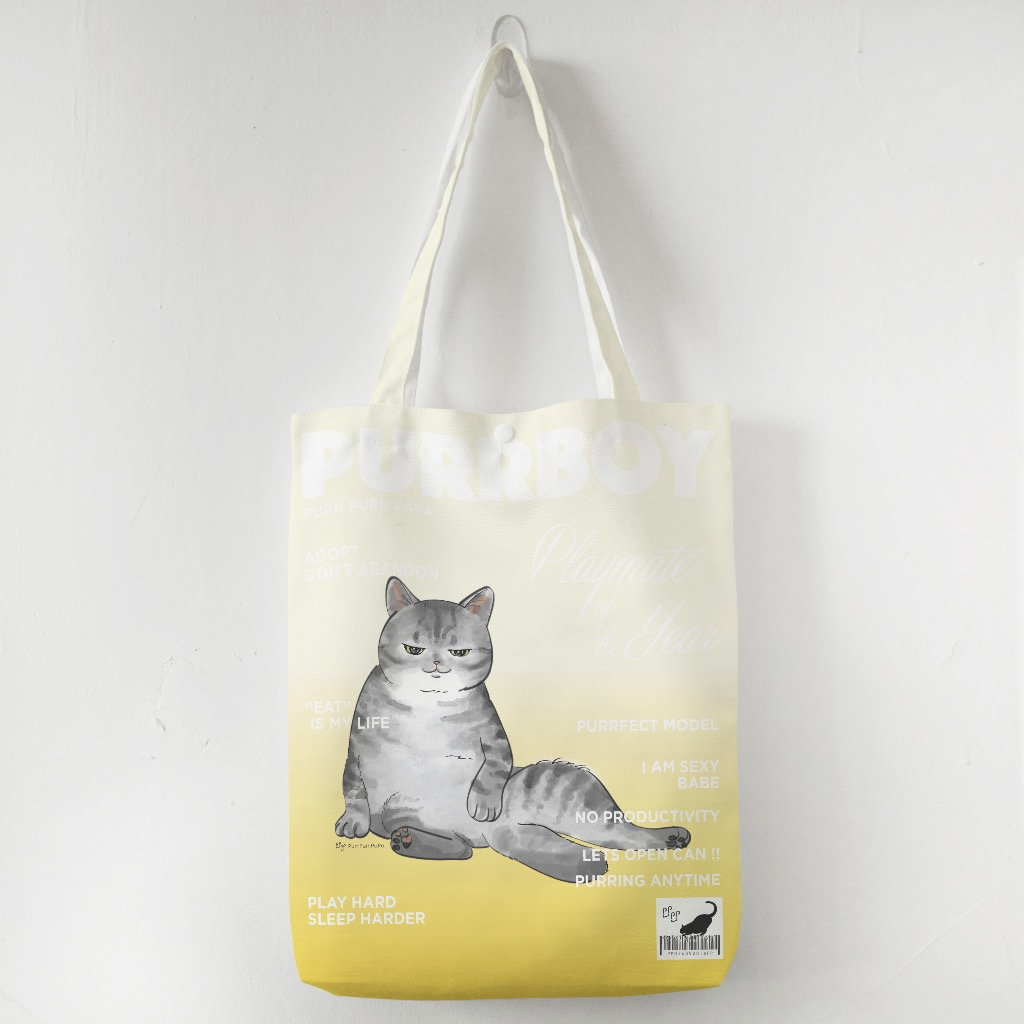 Bag-8b.jpg Bag-8c.jpg 【花樣毛孩】美國短毛虎紋 - Purrboy Tote Bag American Short hair