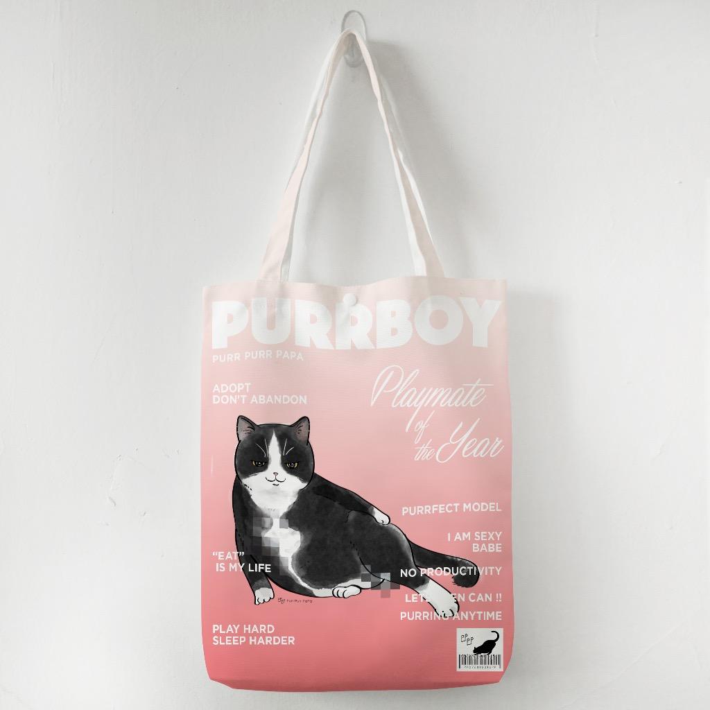 【花樣毛孩】面具貓 - Purrboy Tote Bag - Tuxedo