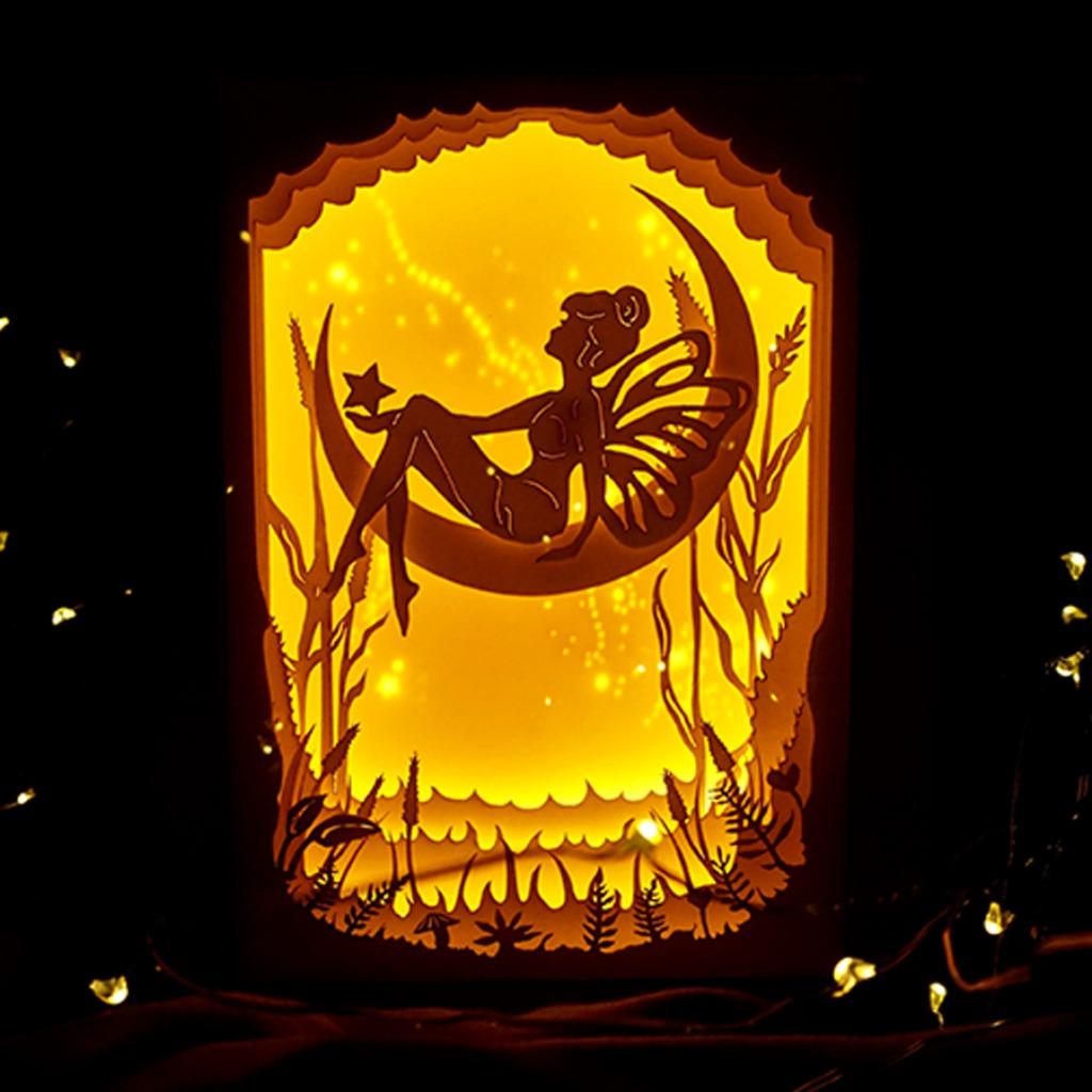 | 光影故事 | 迷你紙雕小夜燈 | 蝴蝶小精靈 少女 |