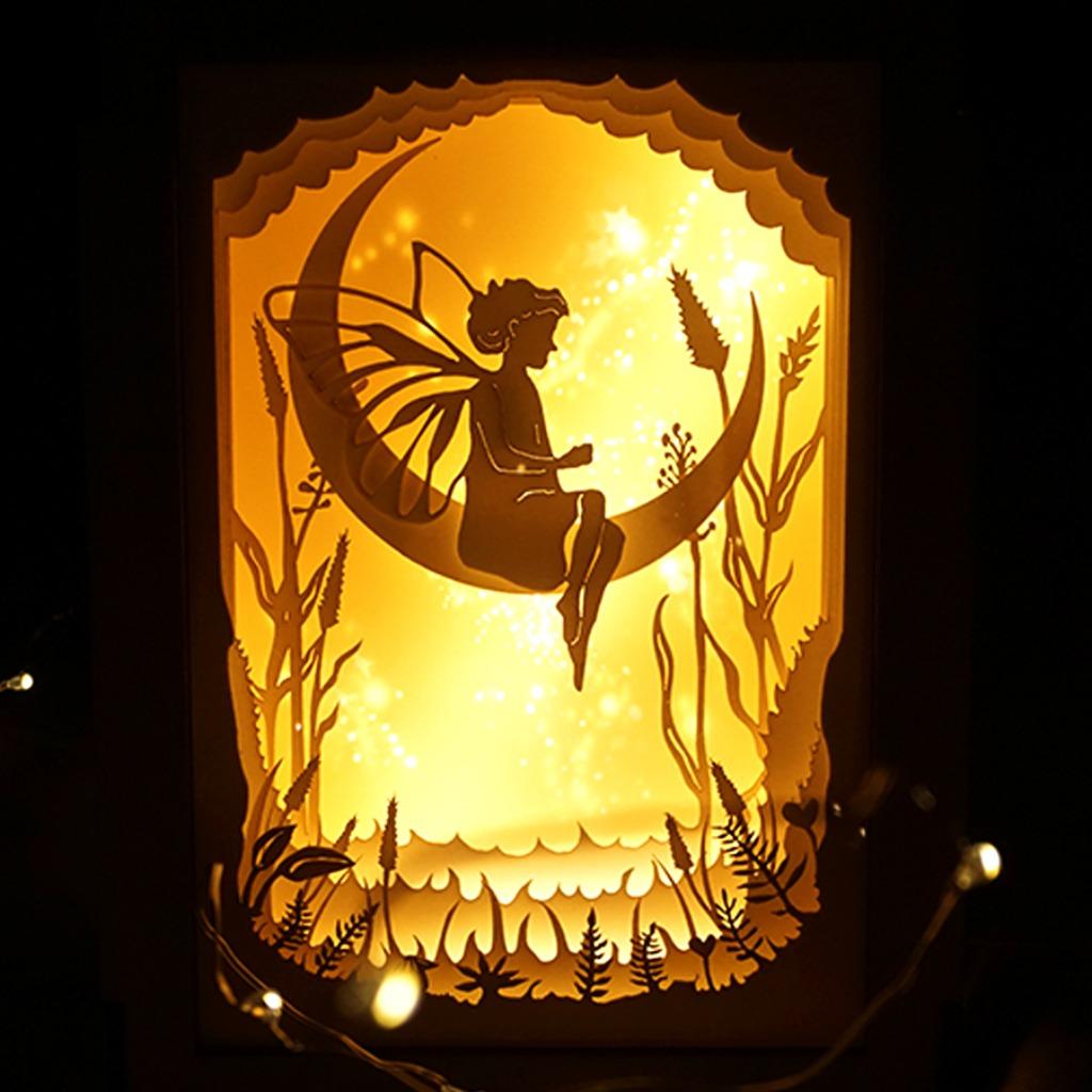 | 光影故事 | 迷你紙雕小夜燈 | 蝴蝶小精靈 女孩 |