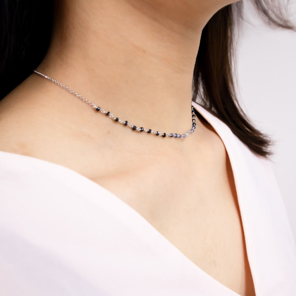 [433 Studio] 漸變印度藍寶石 - 鎖骨頸鏈 - 銀