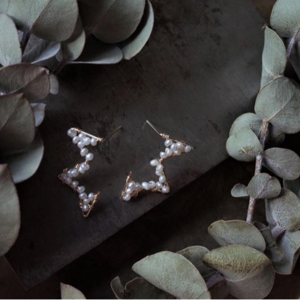 半顆星 天然小珍珠14K注金耳環