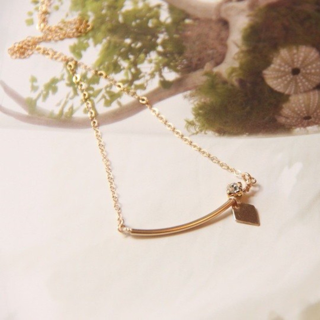 鑽&菱形金片項鍊 / Swarovski Crystal Gold Plated & diamond